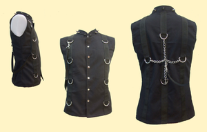 Gothic cyber spiked collar D ring vest top - M (last one)