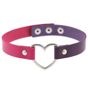 Pastel Goth Two tone Kawaii Heart Collar Choker - Cheshire Cat, Harley Quinn theme
