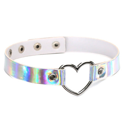 Hologram space kitten Kawaii heart collar choker