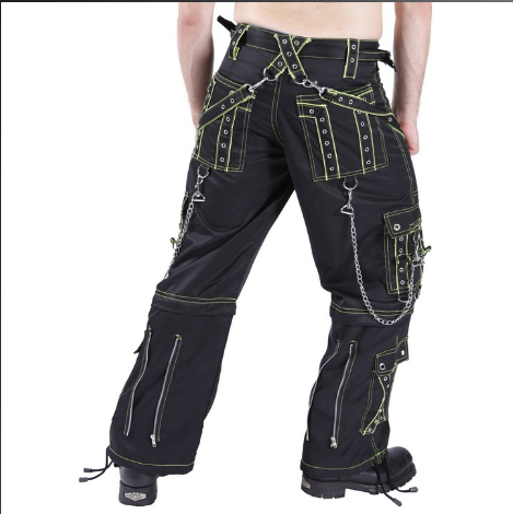 Cyber D-ring Neon Men's Rave cybergoth Pants Trousers - Lime green or Red