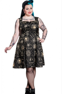 Tabitha Gothic occult print buckle Plus size dress - 3XL LAST ONE