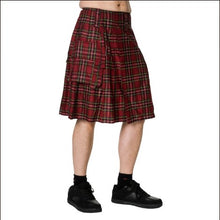 Load image into Gallery viewer, Red tartan metal gothic plaid punk kilt - mens / unisex