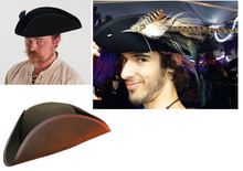 Load image into Gallery viewer, Tricorn Hat - gothic steampunk formal classic pirate handcrafted 18th century style tricorne hat - Forest Green