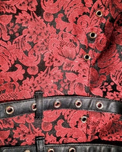 Load image into Gallery viewer, Elegant Punk Military Steampunk Brocade Jacket Coat Black/Red