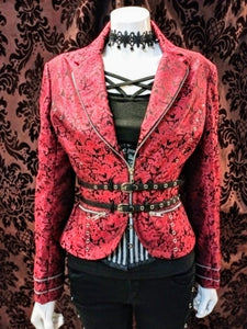 Elegant Punk Military Steampunk Brocade Jacket Coat Black/Red