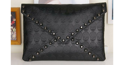 Skull and stud clutch wallet handbag - ULTRA CLEARANCE
