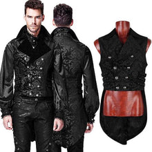 Load image into Gallery viewer, Mens Gothic Steampunk Waistcoat with Tails.