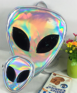 Holographic Alien face mini backpack bag
