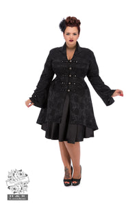 Andromeda Gothic flared brocade coat - Plus Size