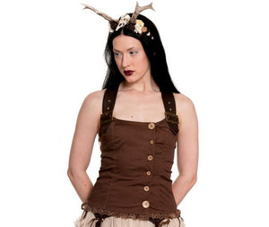 Aurora steampunk pixie brown strappy top