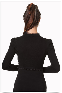 Gothic lace and knit stretch elegant bolero shrug
