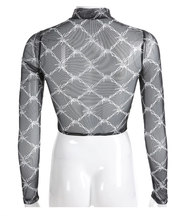 Load image into Gallery viewer, Mesh stretch long sleeve crop top - Barbed Wire