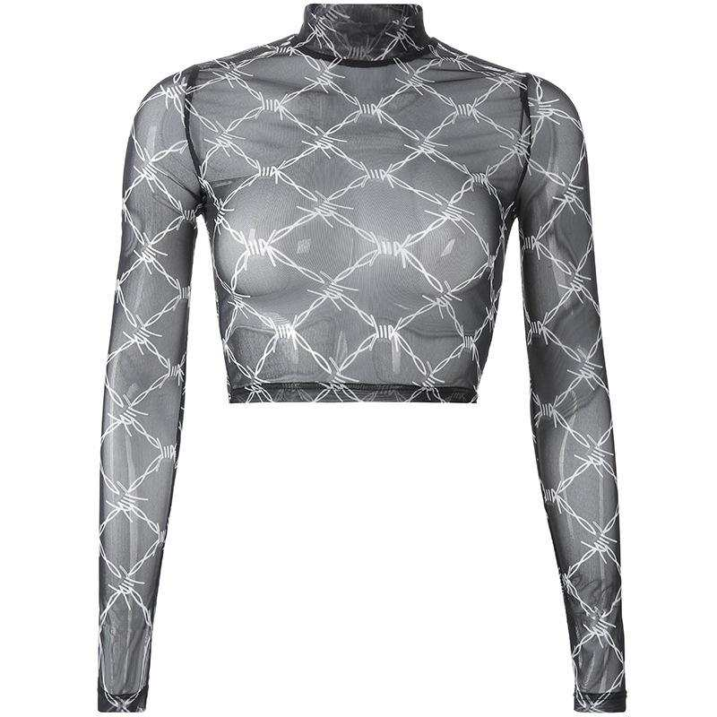 Mesh stretch long sleeve crop top - Barbed Wire