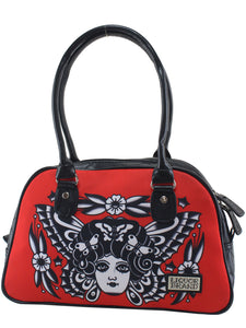 Rockabilly tattoo butterfly circus retro handbag - RED/Black