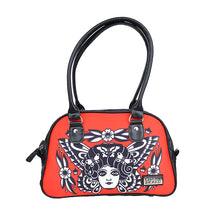 Load image into Gallery viewer, Rockabilly tattoo butterfly circus retro handbag - RED/Black