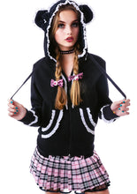Load image into Gallery viewer, Gothic lolita fleece bear ears cute hoodie - White or Red