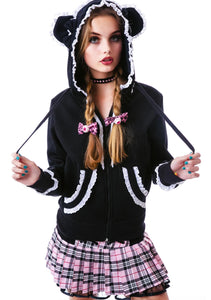 Gothic lolita fleece bear ears cute hoodie - White or Red