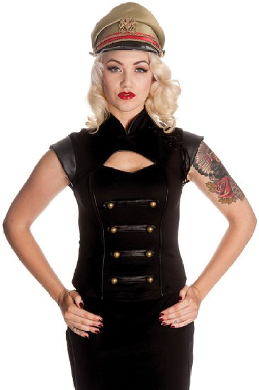 Black watch Steampunk military PVC sleeve top
