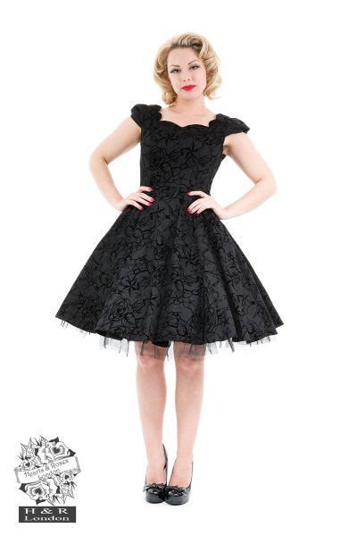 Velvet embossed gothic rockabilly swing Dress