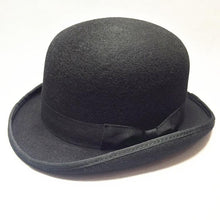 Load image into Gallery viewer, Bowler Hat - gothic steampunk formal classic victorian standard derby rounded bowler hat - black