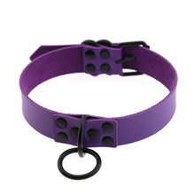 Load image into Gallery viewer, Black O-ring studded punk gothic collar choker - purple, black, red