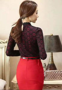 Elegant Gothic Lace overlay victorian Blouse shirt top