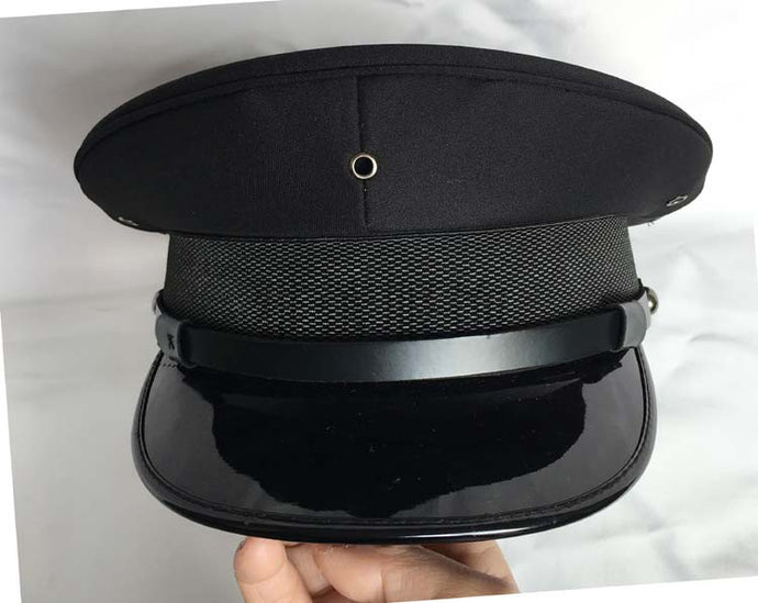 Military Hat - fetish gothic steampunk festival military captain officers cap - Black