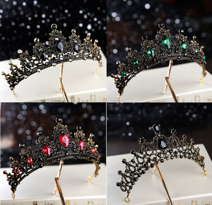 Black Jewel Queens Crown Tiara - black, red or green