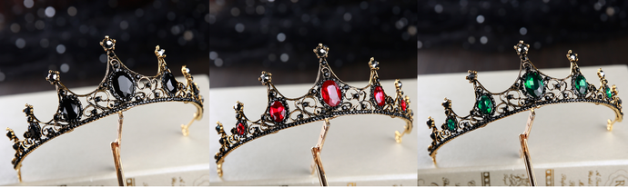 Black Jewel gothic tiara crown - black, red or green