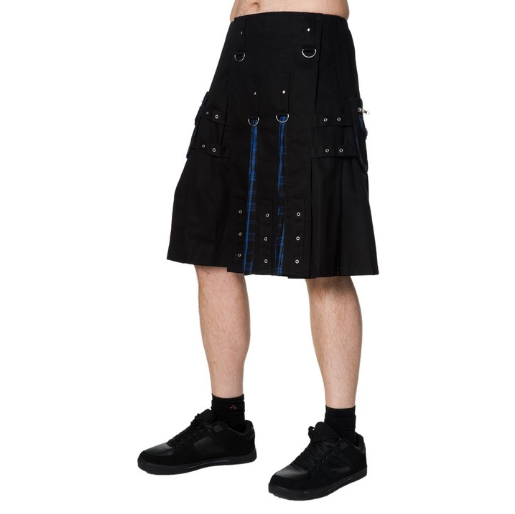 Blue tartan Gothic chain metal black metal zipper kilt - mens / unisex