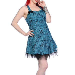 Blue Skull bow cutie mini dress