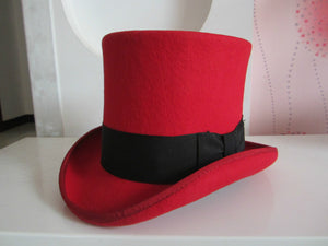 Classic Top Hat - gothic steampunk formal standard victorian Top Hat - Red/Black