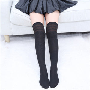 Gothic sexy sporty stripe top long socks - knee high / over knee socks - Red, Purple, White, Brown, Blue, Pink
