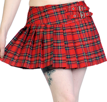 Load image into Gallery viewer, Buckle punk red tartan plaid mini skirt