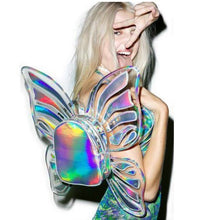 Load image into Gallery viewer, Hologram rave laser butterfly festival fairy wing backpack
