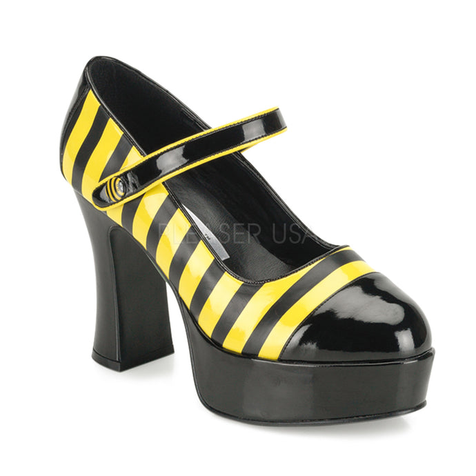 Buzz 66 - Bee striped Mary Jane high heel shoe