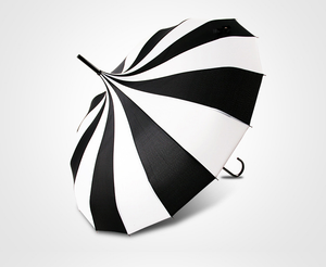 Black & White gothic steampunk pagoda style Japanese umbrella parasol
