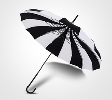 Load image into Gallery viewer, Black & White gothic steampunk pagoda style Japanese umbrella parasol