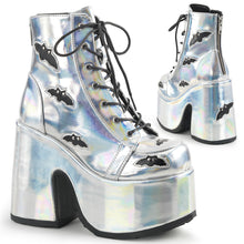 Load image into Gallery viewer, Camel201 - Silver Hologram Bats Chunky Heel Ankle Boot