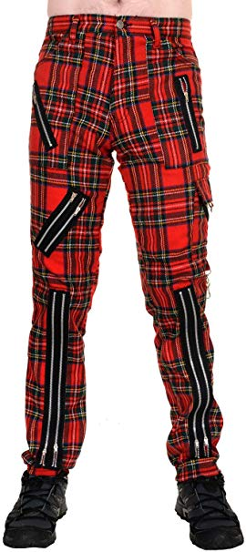 Unisex Red Tartan Punk Zipper Trousers Pants