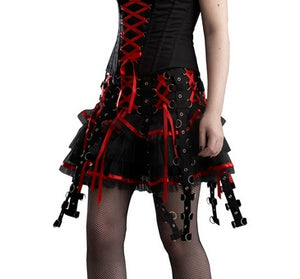 Punk Chai metal D ring mini skirt - red