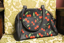 Load image into Gallery viewer, Cute cherry rockabilly large bowling retro handbag