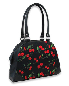 Cute cherry rockabilly large bowling retro handbag