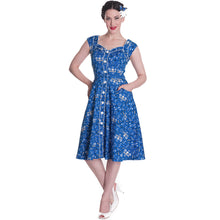 Load image into Gallery viewer, Colorado floral, skull bandana print rockabilly pin up dress