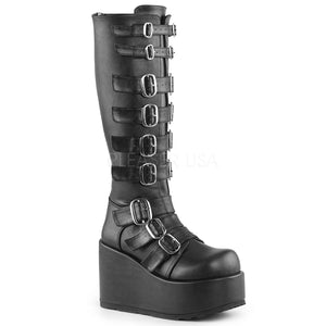 Concord108 - Knee-high gothic buckle gogo platform boot