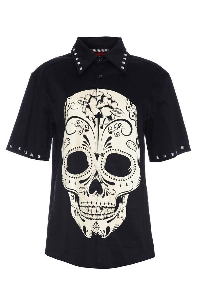 Sugar skull gothic short sleeve Men's shirt