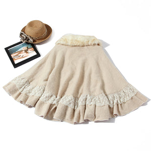 Classic elegance cream gothic lolita faux fur collar steampunk cape cloak