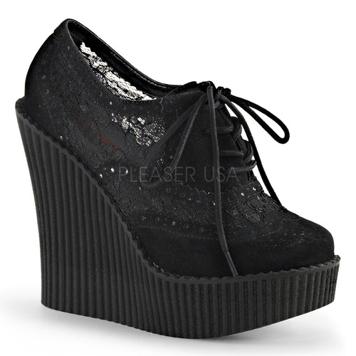Creeper307 - High heel lace wedge creeper