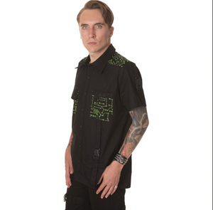 Cyber green circuitry cybergoth shirt