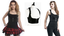 Load image into Gallery viewer, Devina studded spike underbust harness waistcoat vest